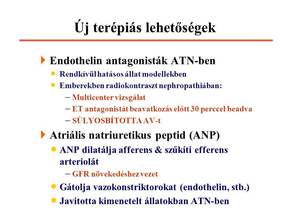 Új terépiás lehetőségek  Endothelin antagonisták ATN-ben  Rendkívül hatásos állat modellekben  Emberekben radiokontraszt nephropathiában:  Multice