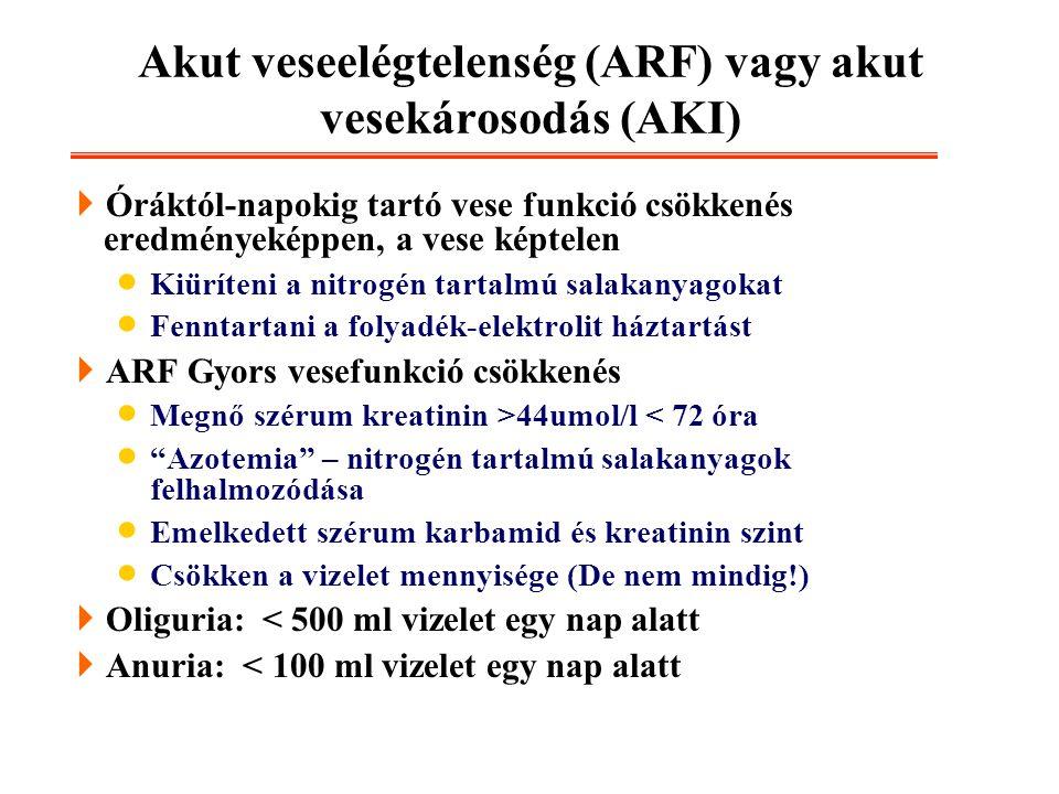 Akut veseelégtelenség (ARF) vagy akut vesekárosodás (AKI)  Óráktól-napokig tartó vese funkció csökkenés eredményeképpen, a vese képtelen  Kiüríteni