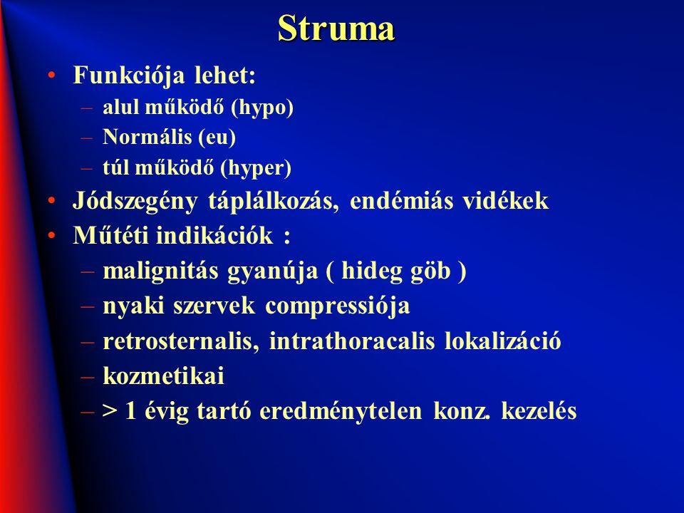 Struma Funkciója lehet: –alul működő (hypo) –Normális (eu) –túl működő (hyper) Jódszegény táplálkozás, endémiás vidékek Műtéti indikációk : –malignitá
