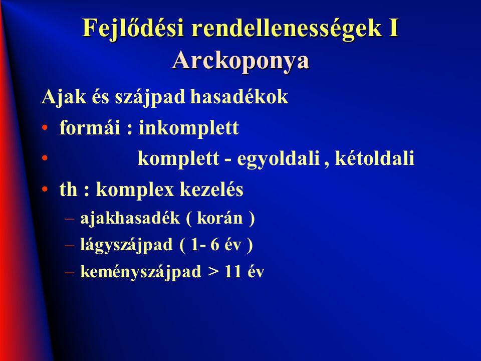 Fejlődési rendellenességek I Arckoponya Ajak és szájpad hasadékok formái : inkomplett komplett - egyoldali, kétoldali th : komplex kezelés –ajakhasadé