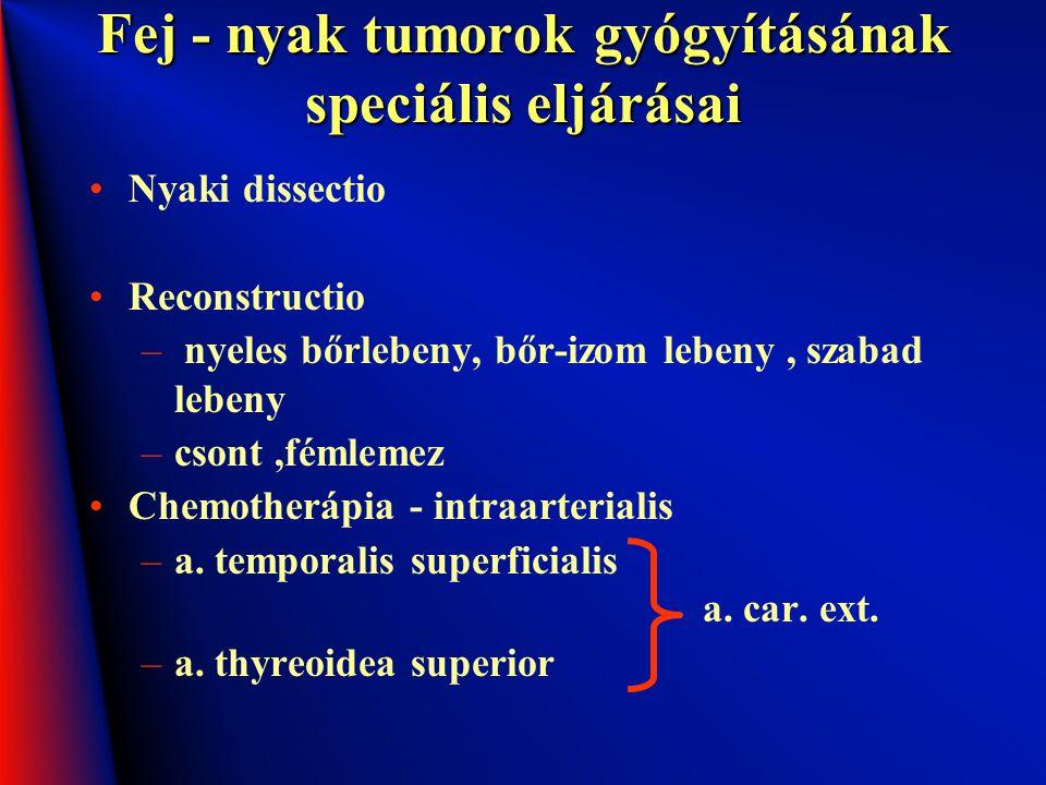 Fej - nyak tumorok gyógyításának speciális eljárásai Nyaki dissectio Reconstructio – nyeles bőrlebeny, bőr-izom lebeny, szabad lebeny –csont,fémlemez
