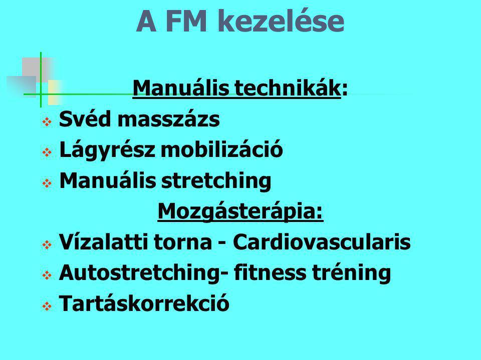 A FM kezelése Manuális technikák:  Svéd masszázs  Lágyrész mobilizáció  Manuális stretching Mozgásterápia:  Vízalatti torna - Cardiovascularis  A