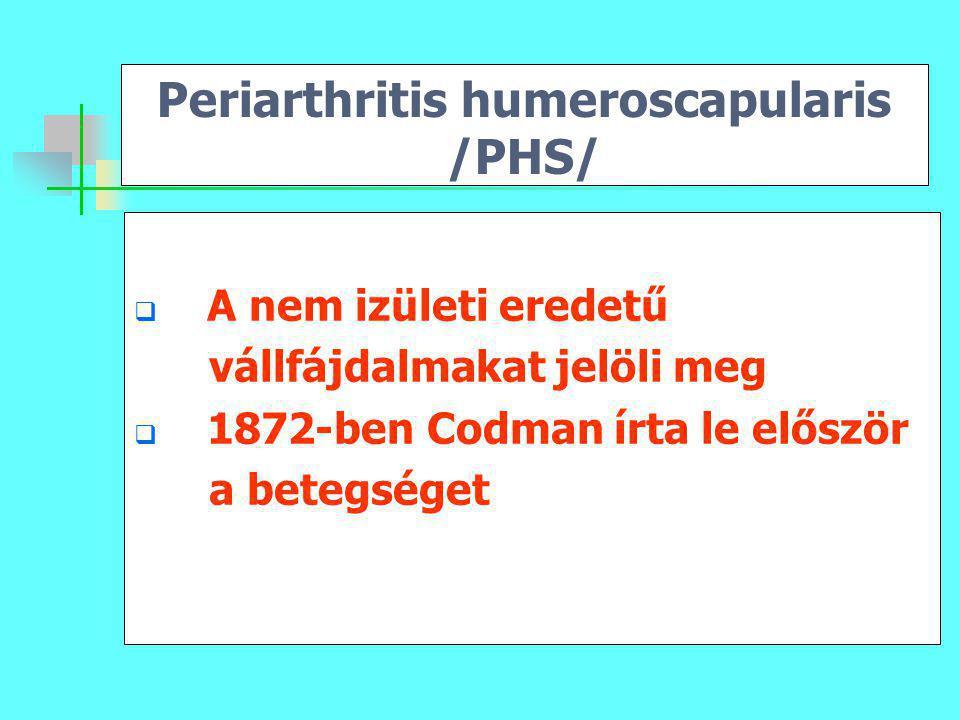 Periarthritis humeroscapularis /PHS/  A nem izületi eredetű vállfájdalmakat jelöli meg  1872-ben Codman írta le először a betegséget