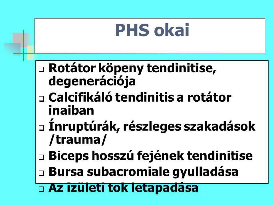 PHS okai  Rotátor köpeny tendinitise, degenerációja  Calcifikáló tendinitis a rotátor inaiban  Ínruptúrák, részleges szakadások /trauma/  Biceps h