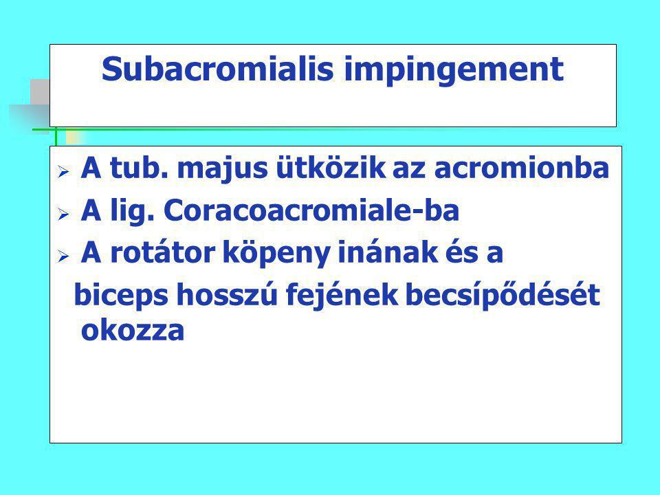 Subacromialis impingement  A tub. majus ütközik az acromionba  A lig. Coracoacromiale-ba  A rotátor köpeny inának és a biceps hosszú fejének becsíp
