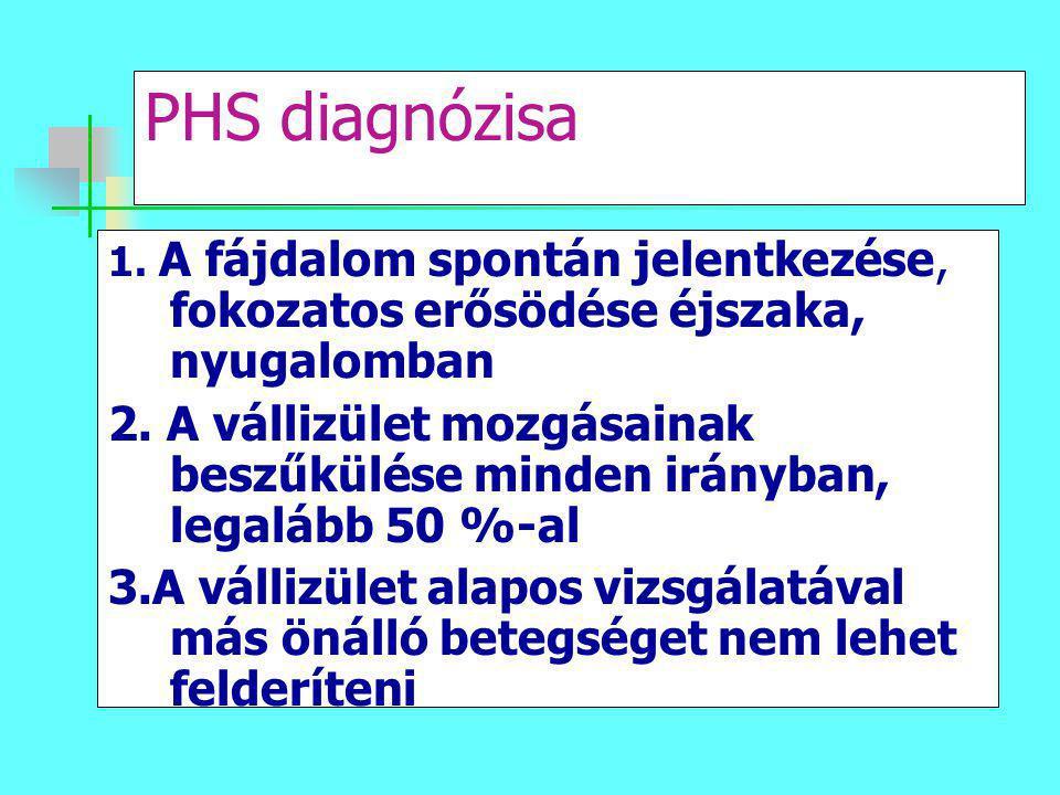 PHS diagnózisa 1. A fájdalom spontán jelentkezése, fokozatos erősödése éjszaka, nyugalomban 2. A vállizület mozgásainak beszűkülése minden irányban, l