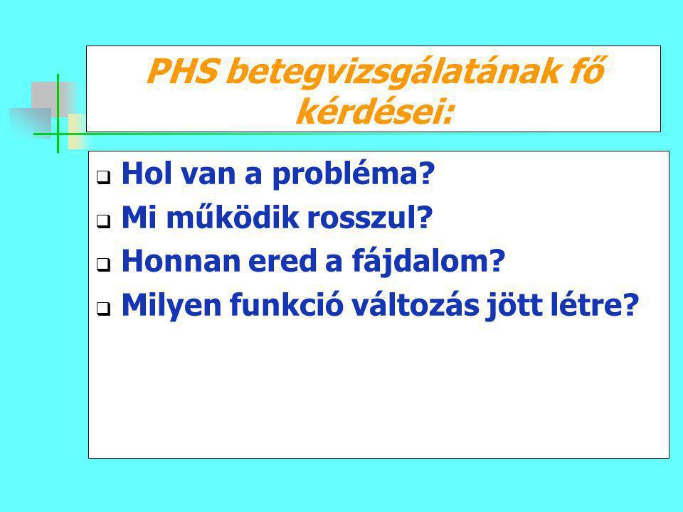 PHS betegvizsgálatának fő kérdései:  Hol van a probléma?  Mi működik rosszul?  Honnan ered a fájdalom?  Milyen funkció változás jött létre?