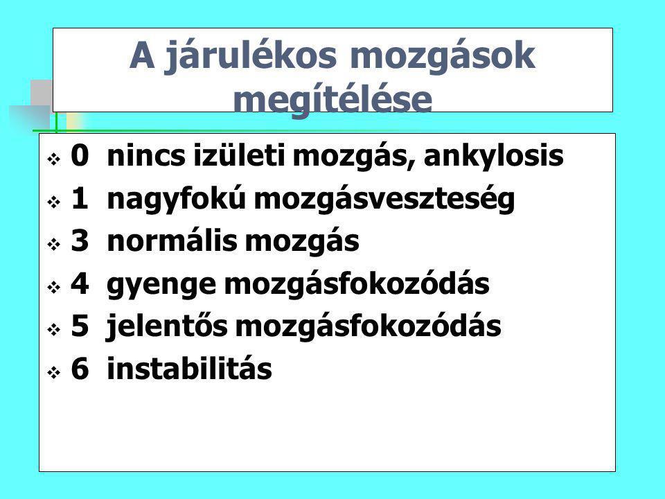 A járulékos mozgások megítélése  0 nincs izületi mozgás, ankylosis  1 nagyfokú mozgásveszteség  3 normális mozgás  4 gyenge mozgásfokozódás  5 je