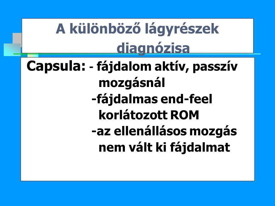 A különböző lágyrészek diagnózisa Capsula: - fájdalom aktív, passzív mozgásnál -fájdalmas end-feel korlátozott ROM -az ellenállásos mozgás nem vált ki