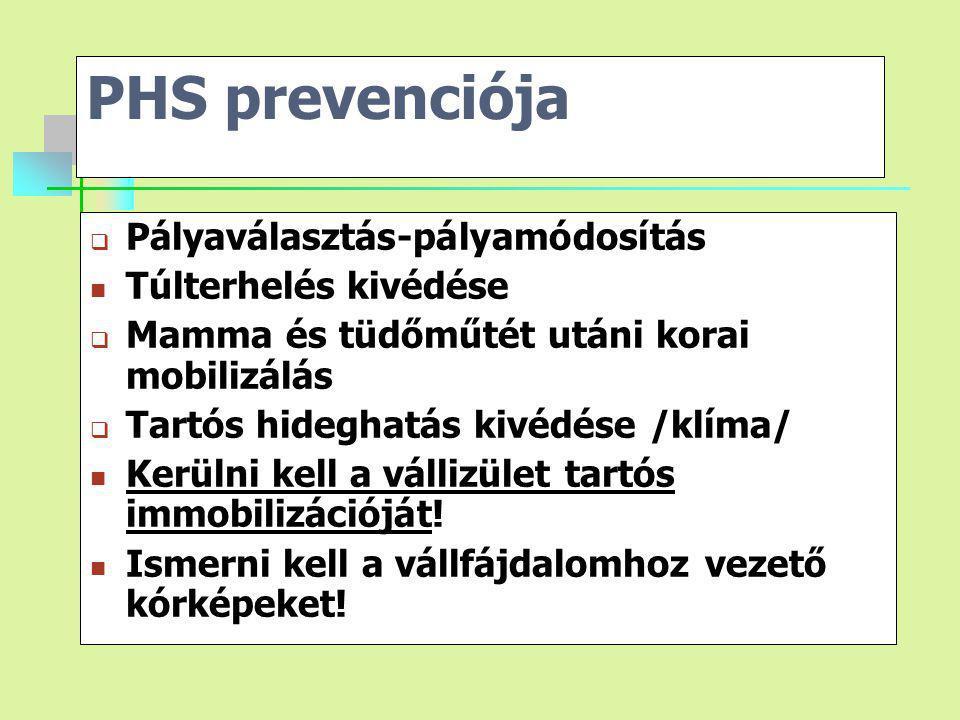 PHS prevenciója  Pályaválasztás-pályamódosítás Túlterhelés kivédése  Mamma és tüdőműtét utáni korai mobilizálás  Tartós hideghatás kivédése /klíma/