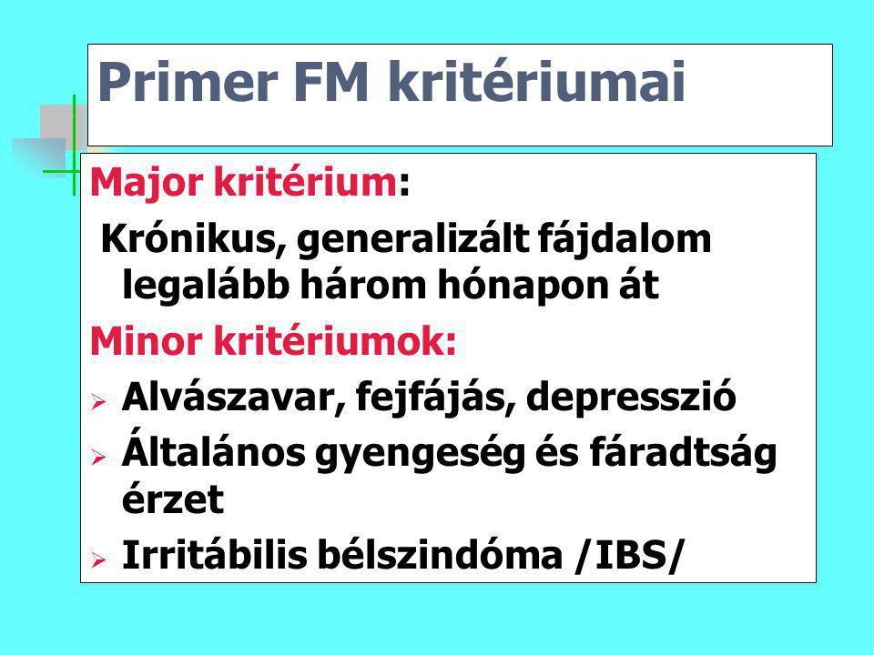 Primer FM kritériumai Major kritérium: Krónikus, generalizált fájdalom legalább három hónapon át Minor kritériumok:  Alvászavar, fejfájás, depresszió