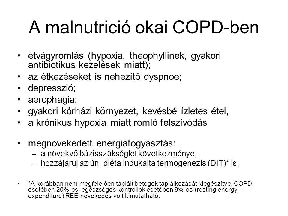 A malnutrició okai COPD-ben étvágyromlás (hypoxia, theophyllinek, gyakori antibiotikus kezelések miatt); az étkezéseket is nehezítő dyspnoe; depresszió; aerophagia; gyakori kórházi környezet, kevésbé ízletes étel, a krónikus hypoxia miatt romló felszívódás megnövekedett energiafogyasztás: –a növekvő bázisszükséglet következménye, –hozzájárul az ún.