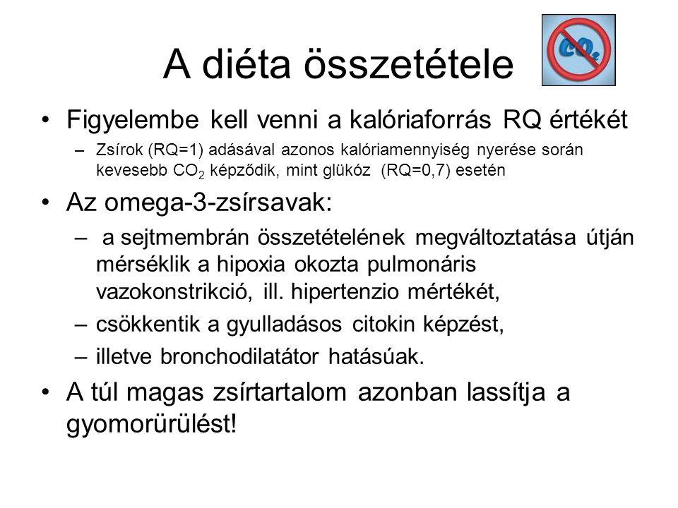 A diéta összetétele Figyelembe kell venni a kalóriaforrás RQ értékét –Zsírok (RQ=1) adásával azonos kalóriamennyiség nyerése során kevesebb CO 2 képződik, mint glükóz (RQ=0,7) esetén Az omega-3-zsírsavak: – a sejtmembrán összetételének megváltoztatása útján mérséklik a hipoxia okozta pulmonáris vazokonstrikció, ill.