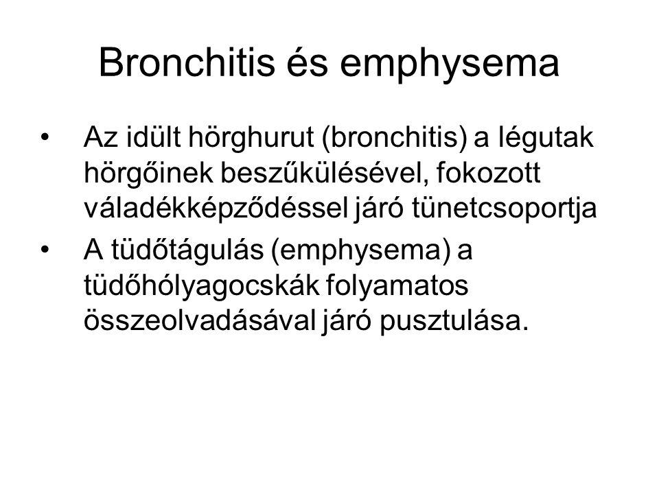 Bronchitis és emphysema Az idült hörghurut (bronchitis) a légutak hörgőinek beszűkülésével, fokozott váladékképződéssel járó tünetcsoportja A tüdőtágulás (emphysema) a tüdőhólyagocskák folyamatos összeolvadásával járó pusztulása.