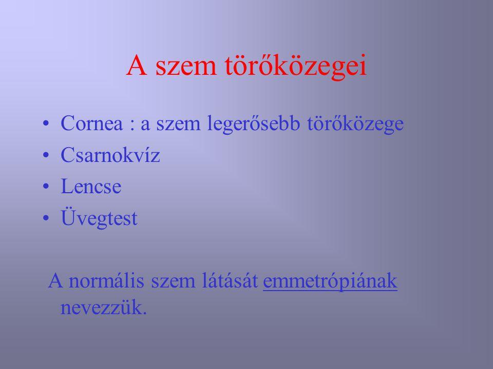 A szem törőközegei Cornea : a szem legerősebb törőközege Csarnokvíz Lencse Üvegtest A normális szem látását emmetrópiának nevezzük.
