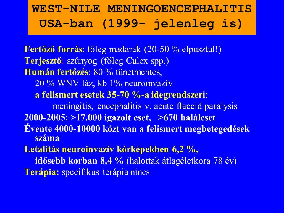 WEST-NILE MENINGOENCEPHALITIS ROMÁNIÁBAN (1996 és 1997) BUKARESTBEN ÉS KÖRNYÉKÉN ÖSSZESEN 500 ESET. LETALITÁS 10 % VOLT! Korábban Romániában ismeretle