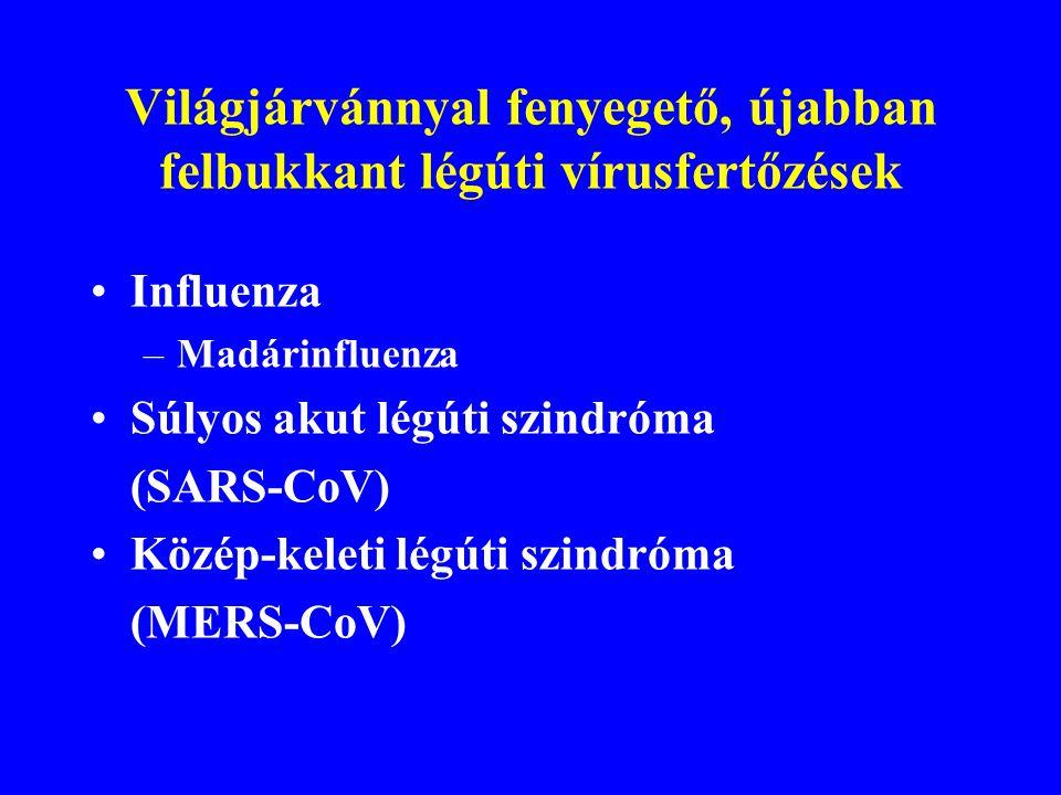 Újonnan felbukkant (felismert) légúti vírusok Sin Nombre vírus(1993):Hantavirus pulmonális szindróma, letalitás 30-50 % Human metapneumovírus (2001):