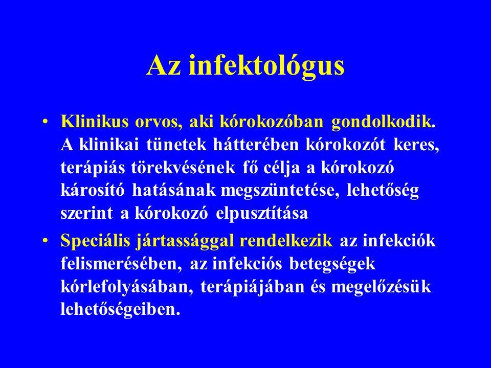 INFEKCIÓS BETEGSÉGEK Élő mikroorganizmusok (vírusok, baktériumok, gombák, protozoonok) által okozott betegségek A KÓROKOZÓ bejut -- szaporodik -- bete