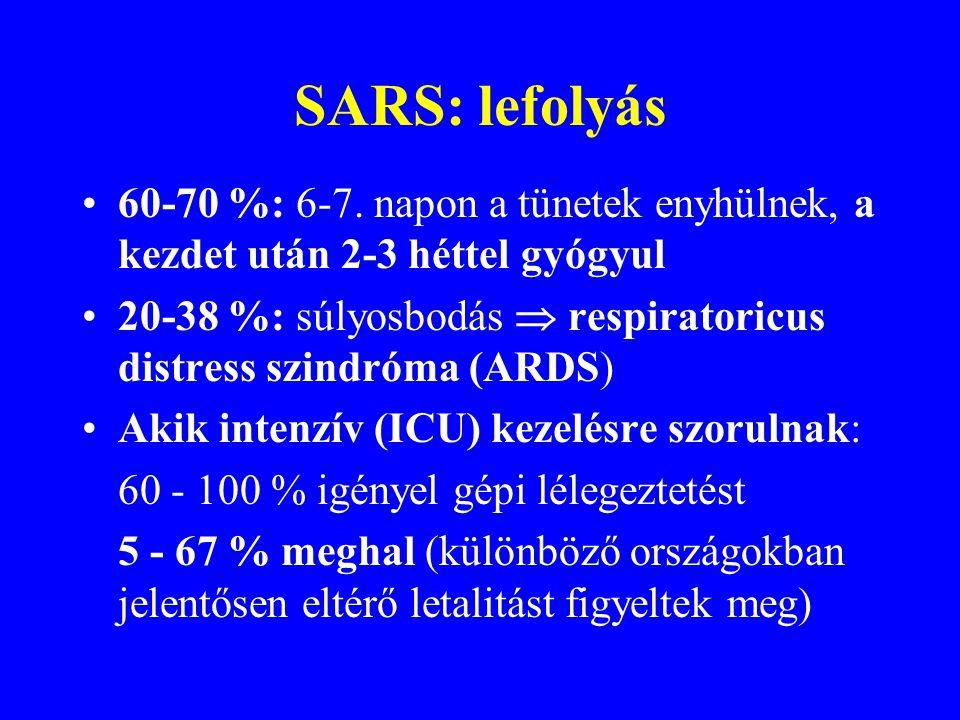 SARS: klinikum Lappangás: 2-7 nap, maximum 10 nap Prodromum: hirtelen magas láz (>38°C), gyakran hidegrázás, fejfájás, izomfájdalom, rossz közérzet. E