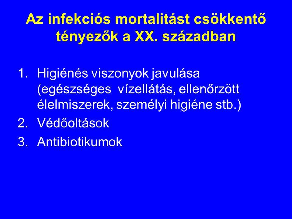 Az infekciós mortalitást csökkentő tényezők a XX.