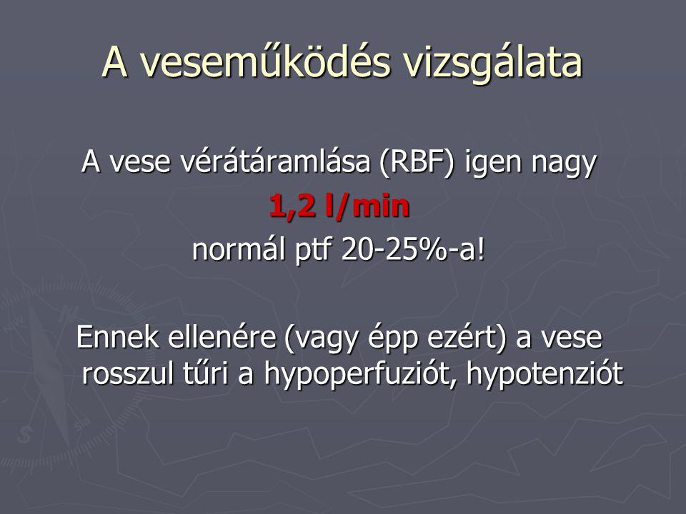 A veseműködés vizsgálata ► A glomerularis filtráció passzív folyamat, szabályozója a glomerulus capillaris nyomása és a nephron lumenének hidrosztatikus nyomása közti különbség.