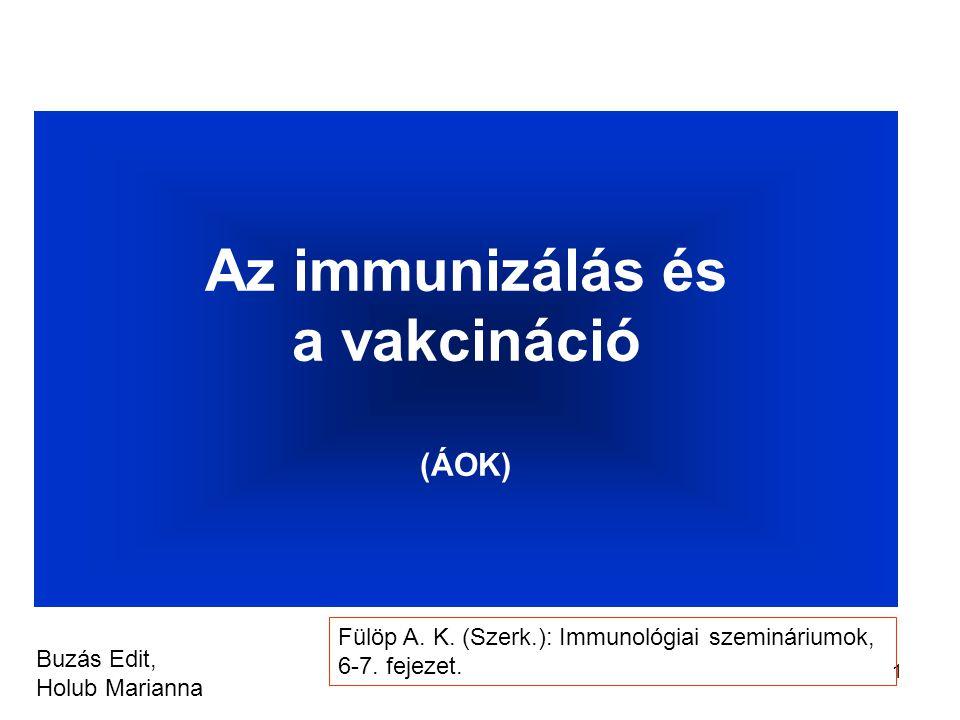 1 Az immunizálás és a vakcináció (ÁOK) Buzás Edit, Holub Marianna Fülöp A.