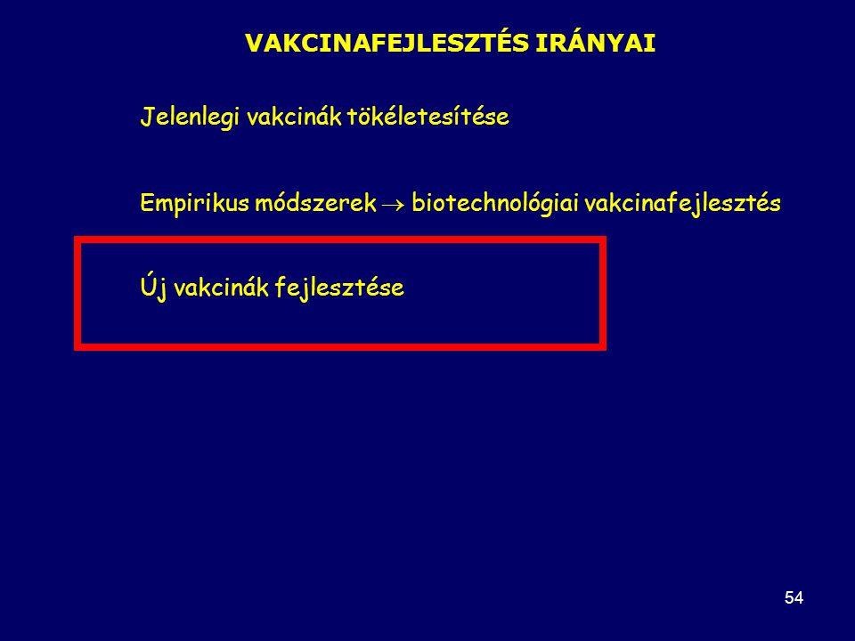 54 VAKCINAFEJLESZTÉS IRÁNYAI Jelenlegi vakcinák tökéletesítése Empirikus módszerek  biotechnológiai vakcinafejlesztés Új vakcinák fejlesztése