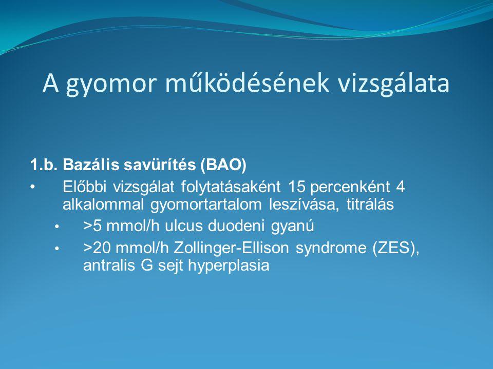 A gyomor működésének vizsgálata 1.b. Bazális savürítés (BAO) Előbbi vizsgálat folytatásaként 15 percenként 4 alkalommal gyomortartalom leszívása, titr
