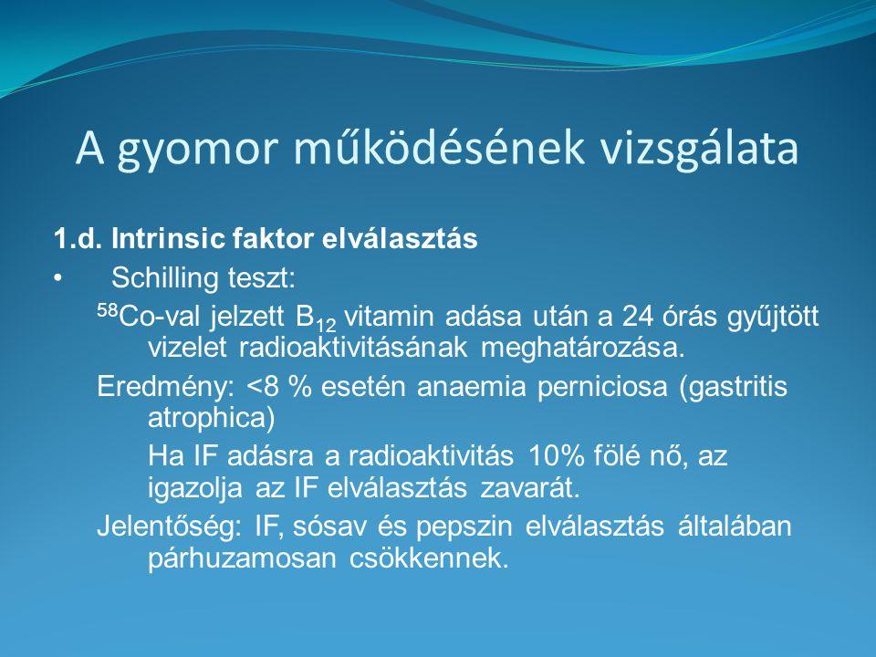 A gyomor működésének vizsgálata 1.d. Intrinsic faktor elválasztás Schilling teszt: 58 Co-val jelzett B 12 vitamin adása után a 24 órás gyűjtött vizele