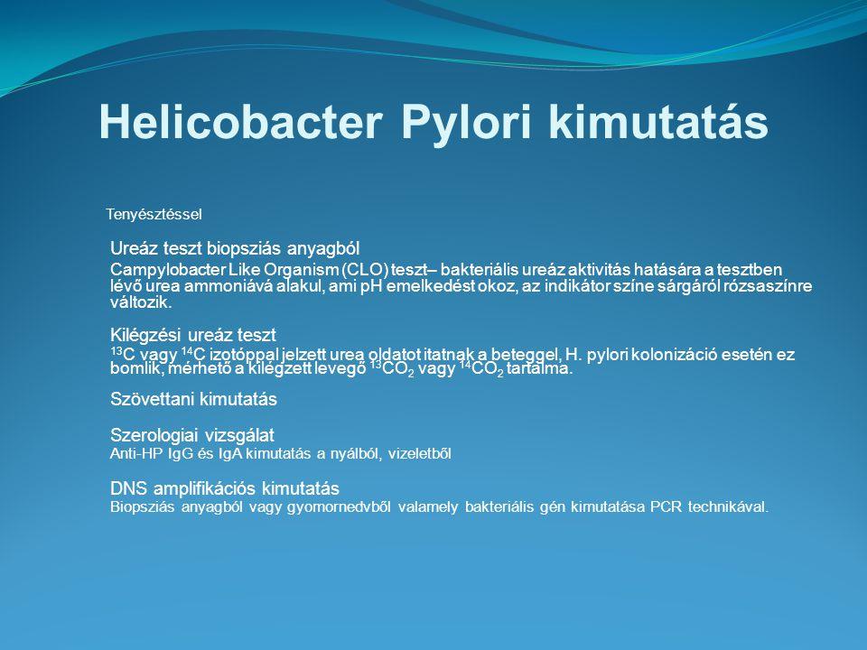 Helicobacter Pylori kimutatás Tenyésztéssel Ureáz teszt biopsziás anyagból Campylobacter Like Organism (CLO) teszt– bakteriális ureáz aktivitás hatásá