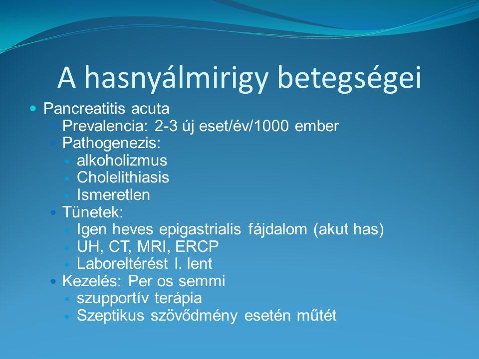 A hasnyálmirigy betegségei Pancreatitis acuta Prevalencia: 2-3 új eset/év/1000 ember Pathogenezis: alkoholizmus Cholelithiasis Ismeretlen Tünetek: Ige