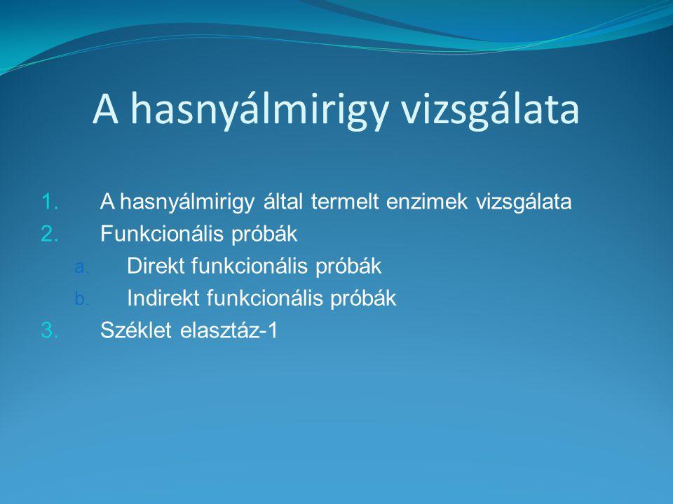 A hasnyálmirigy vizsgálata 1.A hasnyálmirigy által termelt enzimek vizsgálata 2.Funkcionális próbák a. Direkt funkcionális próbák b. Indirekt funkcion