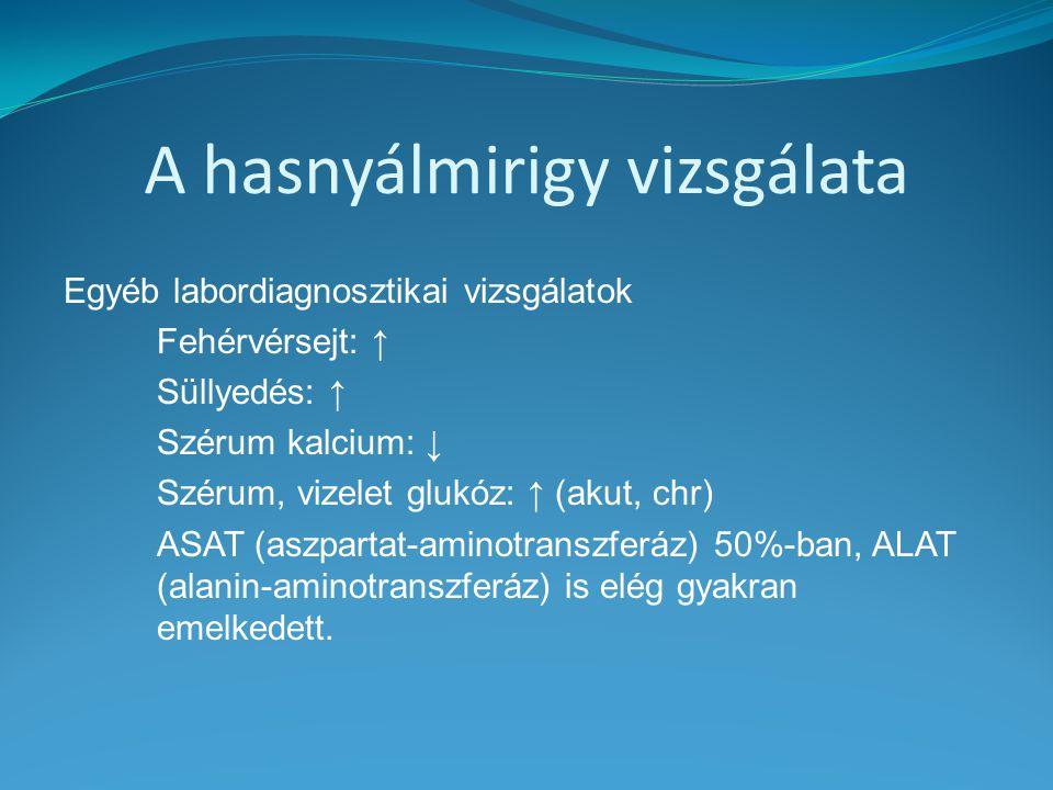 A hasnyálmirigy vizsgálata Egyéb labordiagnosztikai vizsgálatok Fehérvérsejt: ↑ Süllyedés: ↑ Szérum kalcium: ↓ Szérum, vizelet glukóz: ↑ (akut, chr) A