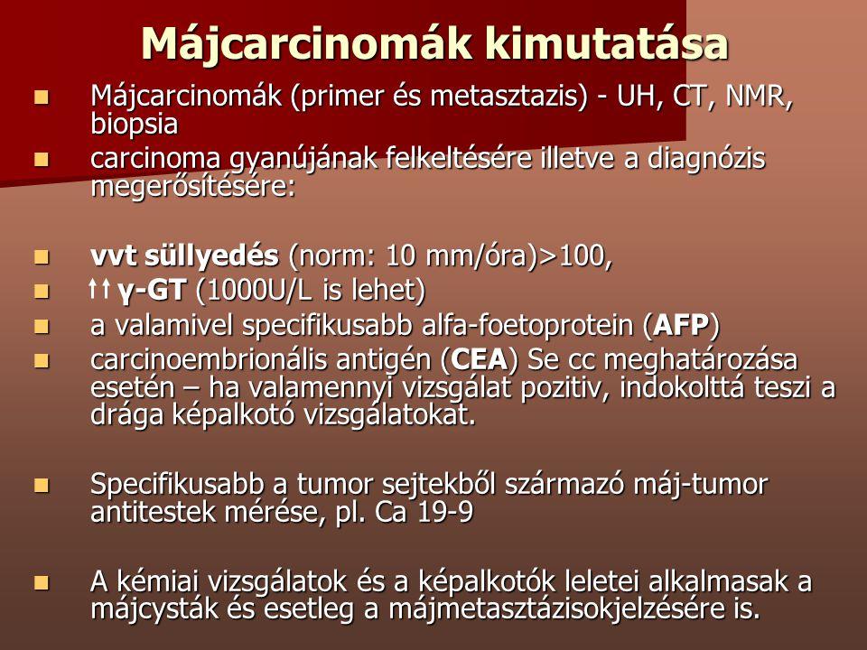 Májcarcinomák kimutatása Májcarcinomák (primer és metasztazis) - UH, CT, NMR, biopsia Májcarcinomák (primer és metasztazis) - UH, CT, NMR, biopsia car