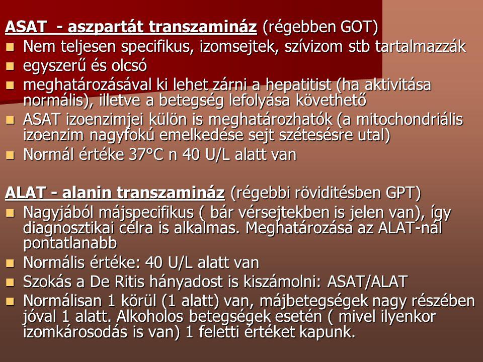 ASAT - aszpartát transzamináz (régebben GOT) Nem teljesen specifikus, izomsejtek, szívizom stb tartalmazzák Nem teljesen specifikus, izomsejtek, szívi