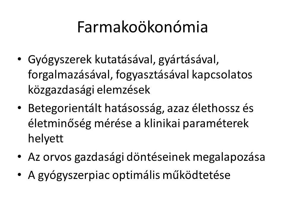Farmakoökonómia Gyógyszerek kutatásával, gyártásával, forgalmazásával, fogyasztásával kapcsolatos közgazdasági elemzések Betegorientált hatásosság, az