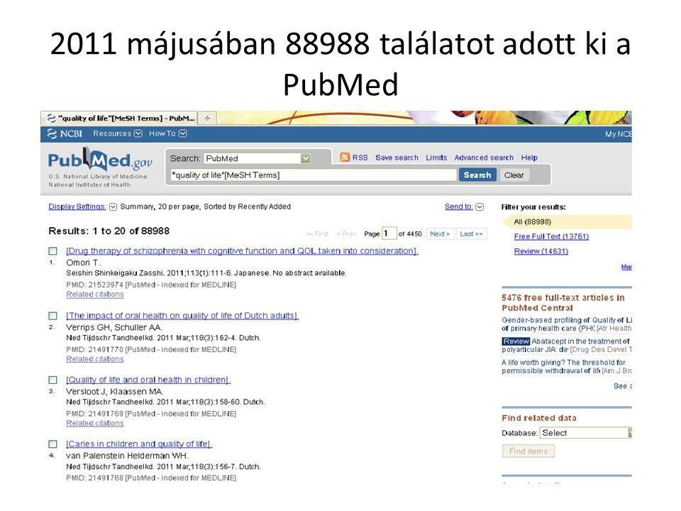 2011 májusában 88988 találatot adott ki a PubMed