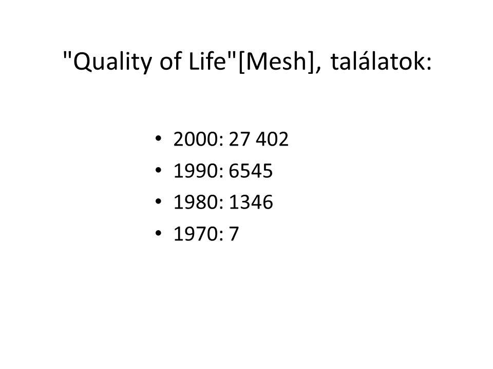 Életminőség jelentősége Az 1970-es évektől rohamos fejlődésnek indult az életminőség vizsgálata Információt ad arról hogy egy adott klinikailag hatásos terápia valóban javít-e a betegek életminőségén