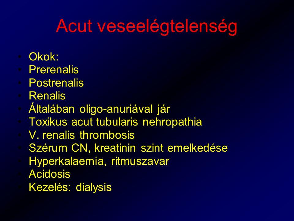 Acut veseelégtelenség Okok: Prerenalis Postrenalis Renalis Általában oligo-anuriával jár Toxikus acut tubularis nehropathia V. renalis thrombosis Szér