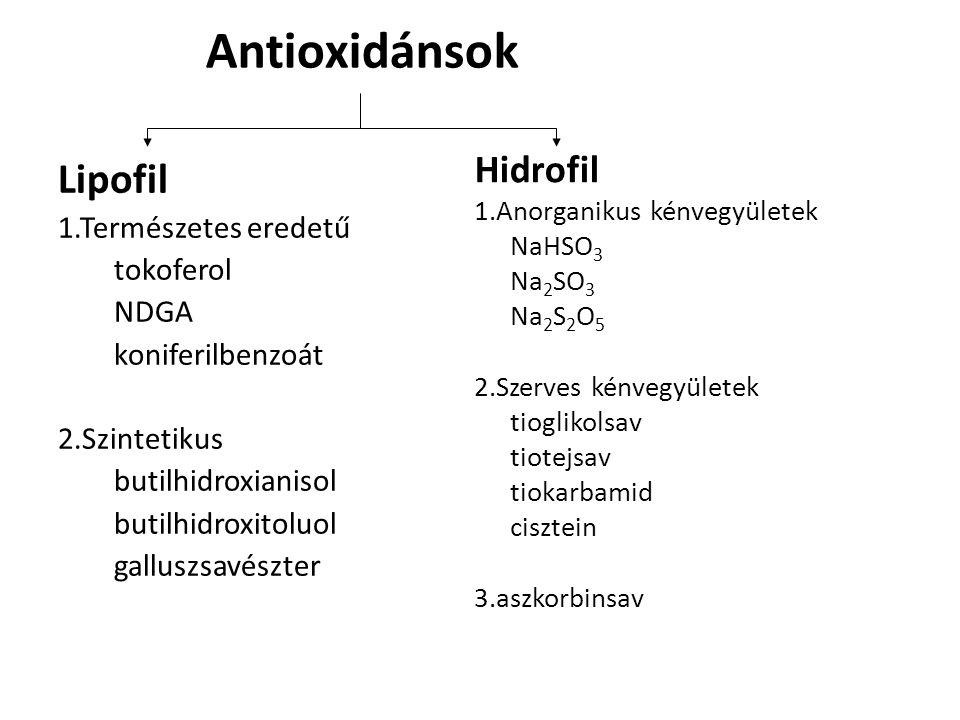 Antioxidánsok Lipofil 1.Természetes eredetű tokoferol NDGA koniferilbenzoát 2.Szintetikus butilhidroxianisol butilhidroxitoluol galluszsavészter Hidrofil 1.Anorganikus kénvegyületek NaHSO 3 Na 2 SO 3 Na 2 S 2 O 5 2.Szerves kénvegyületek tioglikolsav tiotejsav tiokarbamid cisztein 3.aszkorbinsav