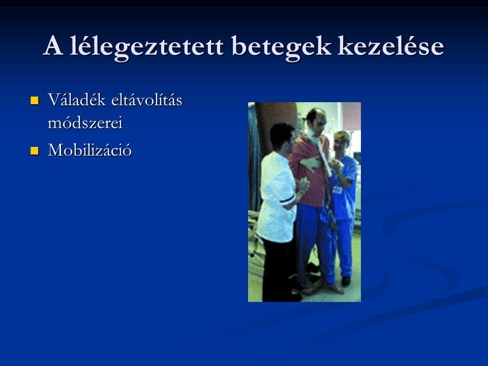 A lélegeztetett betegek kezelése Váladék eltávolítás módszerei Váladék eltávolítás módszerei Mobilizáció Mobilizáció