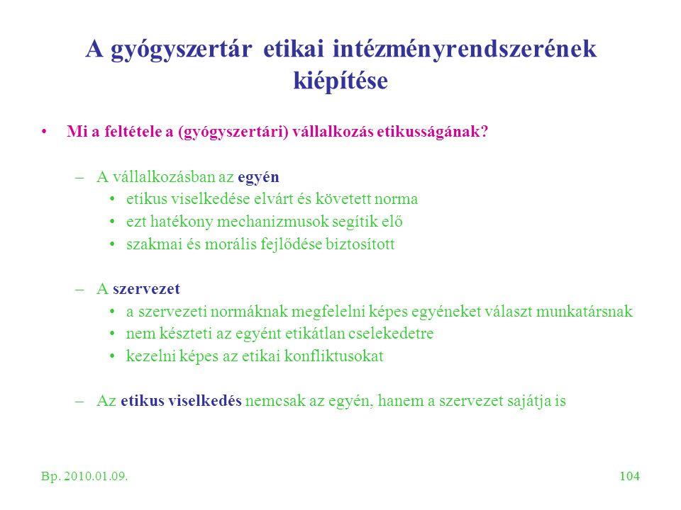 104 A gyógyszertár etikai intézményrendszerének kiépítése Mi a feltétele a (gyógyszertári) vállalkozás etikusságának? –A vállalkozásban az egyén etiku
