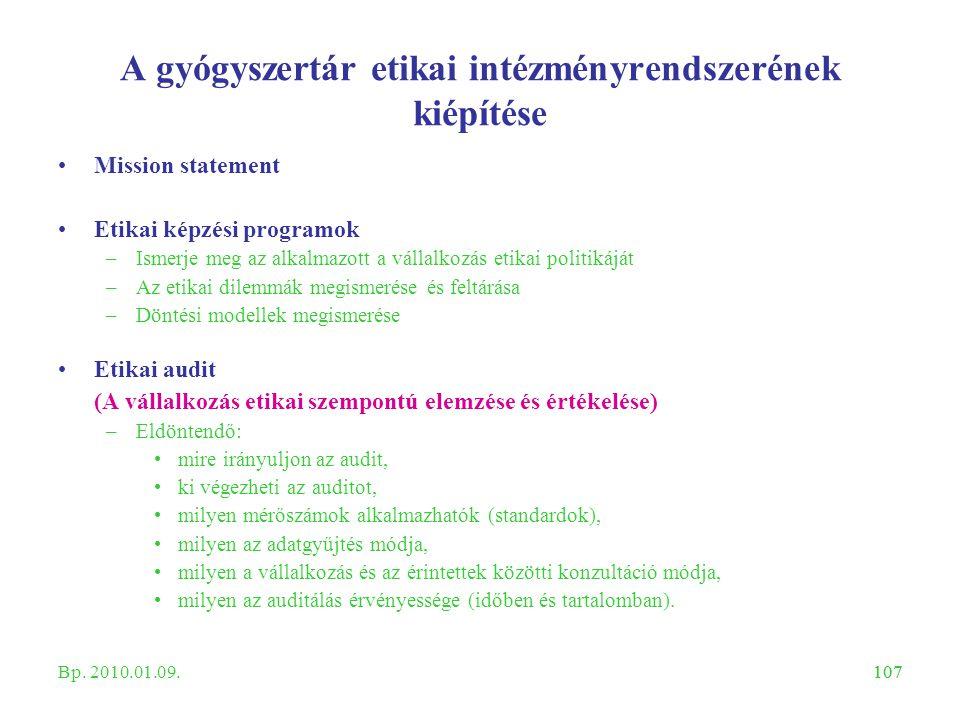 107 A gyógyszertár etikai intézményrendszerének kiépítése Mission statement Etikai képzési programok –Ismerje meg az alkalmazott a vállalkozás etikai