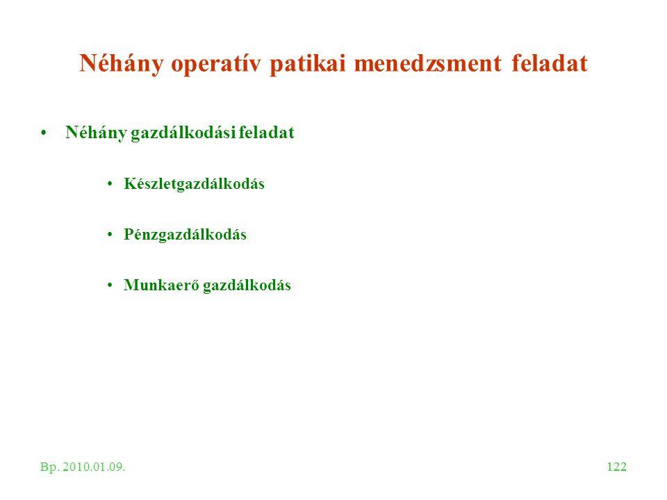 122 Néhány operatív patikai menedzsment feladat Néhány gazdálkodási feladat Készletgazdálkodás Pénzgazdálkodás Munkaerő gazdálkodás Bp. 2010.01.09.
