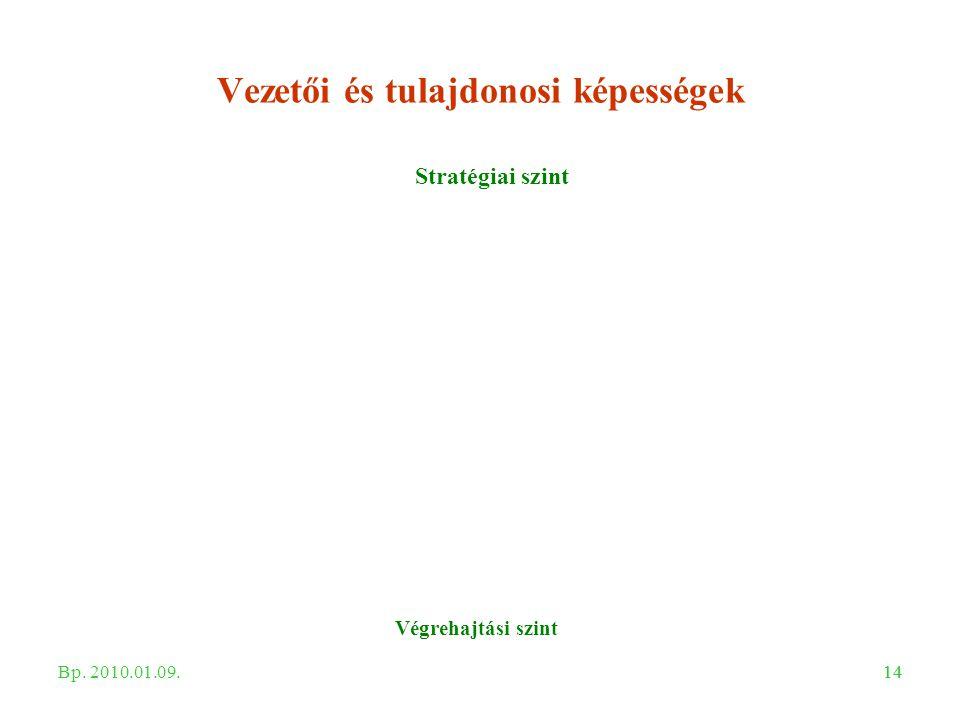14 Vezetői és tulajdonosi képességek Stratégiai szint Végrehajtási szint Bp. 2010.01.09.