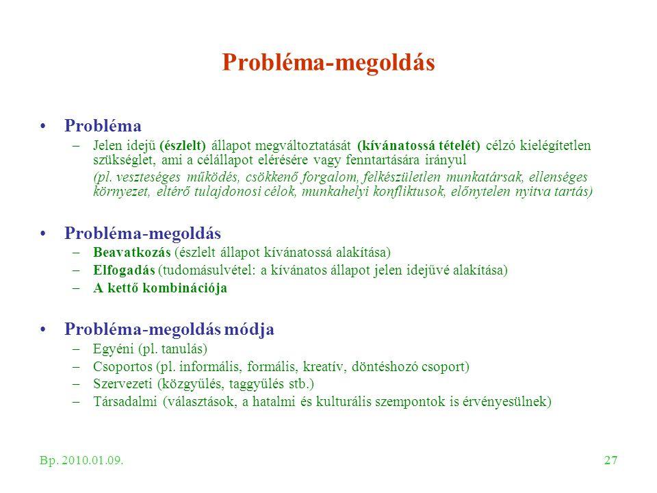 27 Probléma-megoldás Probléma –Jelen idejű (észlelt) állapot megváltoztatását (kívánatossá tételét) célzó kielégítetlen szükséglet, ami a célállapot e