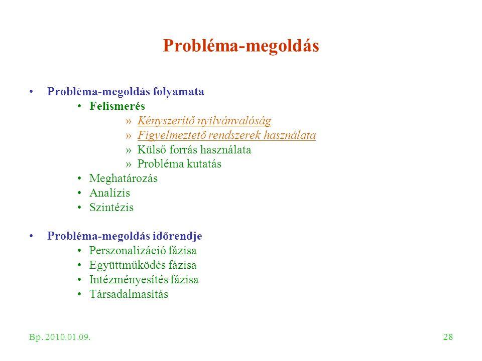 28 Probléma-megoldás Probléma-megoldás folyamata Felismerés »Kényszerítő nyilvánvalóság »Figyelmeztető rendszerek használata »Külső forrás használata