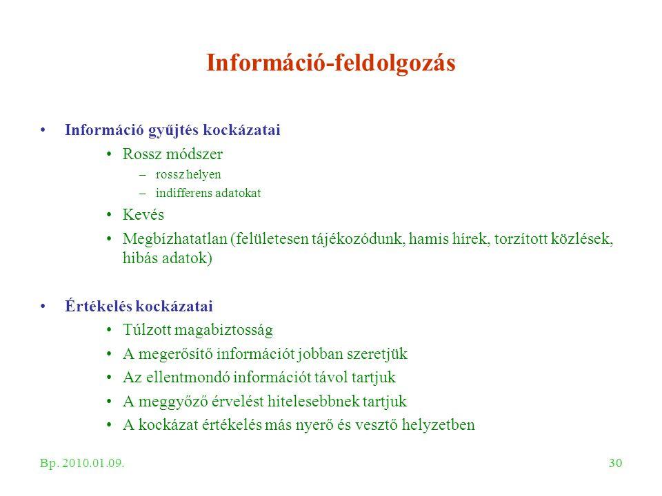 30 Információ-feldolgozás Információ gyűjtés kockázatai Rossz módszer –rossz helyen –indifferens adatokat Kevés Megbízhatatlan (felületesen tájékozódu