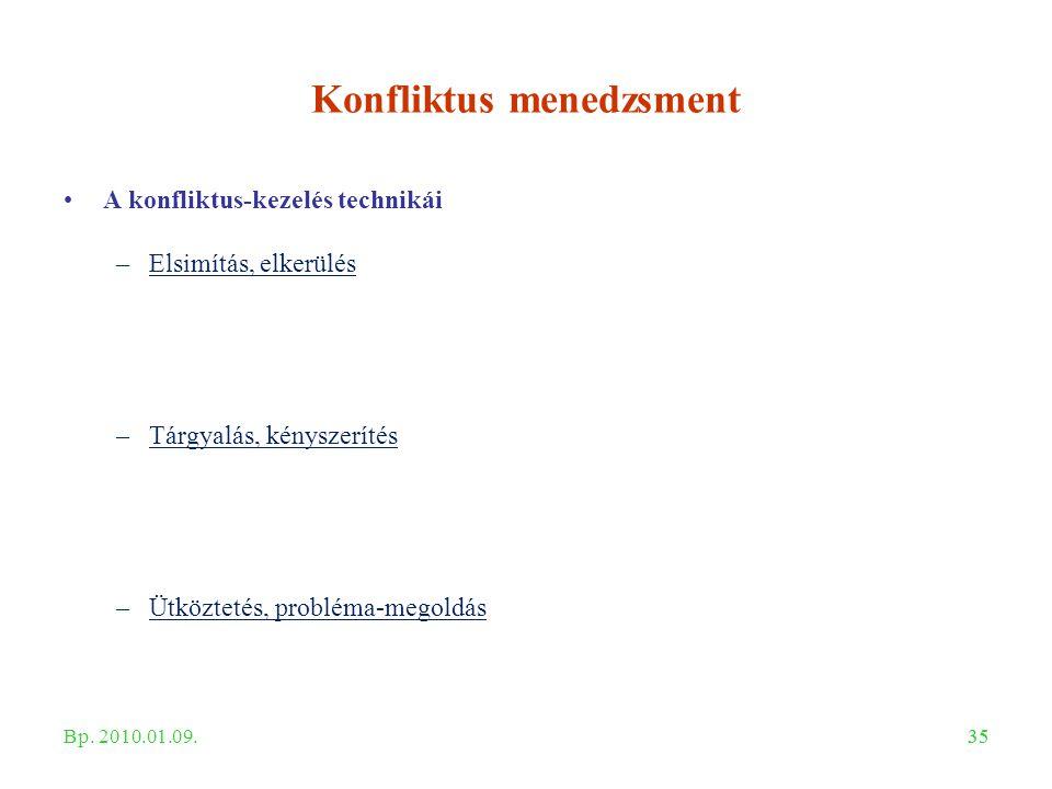 35 Konfliktus menedzsment A konfliktus-kezelés technikái –Elsimítás, elkerülés –Tárgyalás, kényszerítés –Ütköztetés, probléma-megoldás Bp. 2010.01.09.