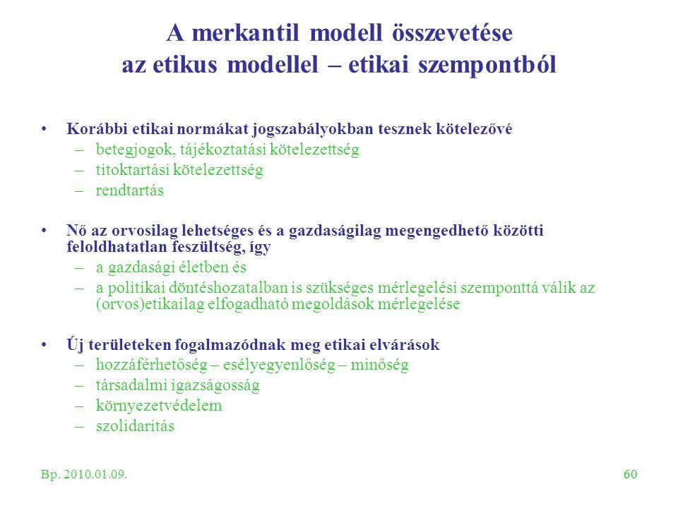 60 A merkantil modell összevetése az etikus modellel – etikai szempontból Korábbi etikai normákat jogszabályokban tesznek kötelezővé –betegjogok, tájé
